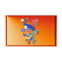 Fancy Peacock and Flowers 38.5 x 24.5 Wall Peel