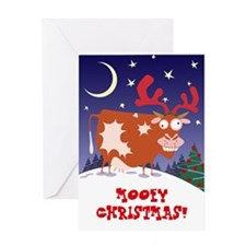 Christmas Eve Cow Greeting Card
