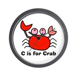 C is for Crab! Wall Clock