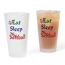 Eat Sleep Softball Drinking Glass