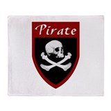 Pirate Red Patch Throw Blanket