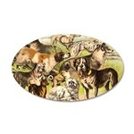 Dog Group From Antique Art 38.5 x 24.5 Oval Wall P