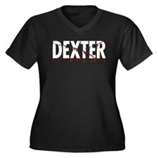 'Sliced' Dexter Women's Plus Size V-Neck Dark T-Sh