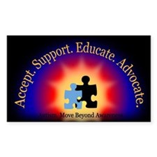 Beyond Awareness (Autism) Rectangle Sticker - Dark