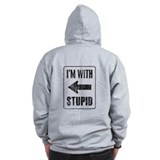 Vintage I'm With Stupid [l]  Zip Hoodie