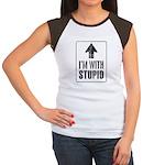 Vintage I'm With Stupid [u] Women's Cap Sleeve T-S