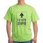 Vintage I'm With Stupid [u] Green T-Shirt