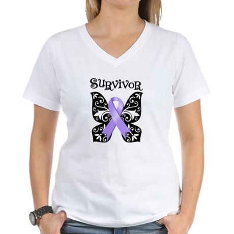 Butterfly Cancer Survivor Women's V-Neck T-Shirt