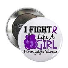 "Fight Like A Girl Fibromyalgia 2.25"" Button (100 p"