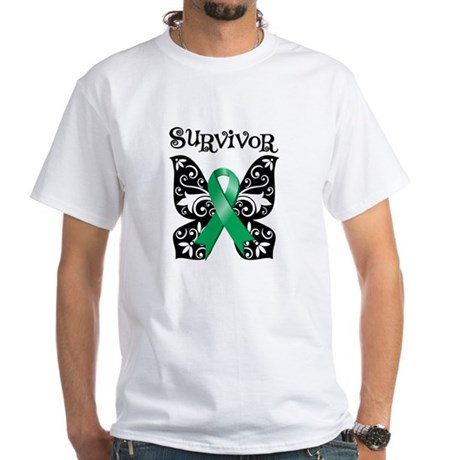 Butterfly Liver Cancer White T-Shirt