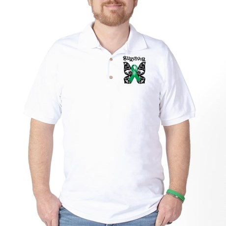 Butterfly Liver Cancer Golf Shirt