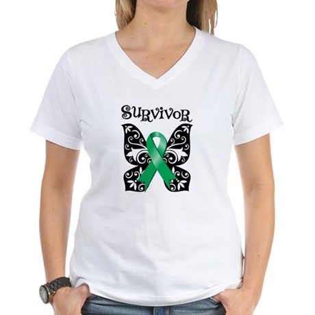 Butterfly Liver Cancer Women's V-Neck T-Shirt