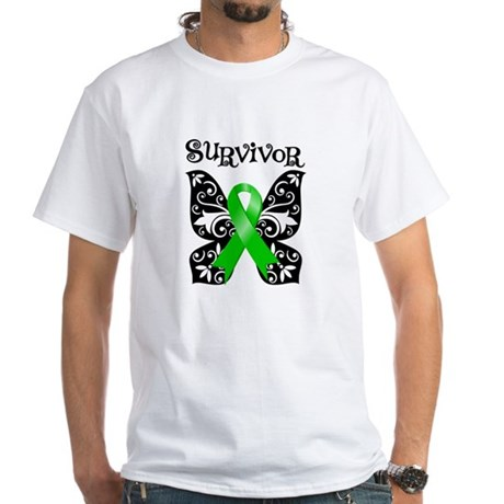 Butterfly Lymphoma Survivor White T-Shirt