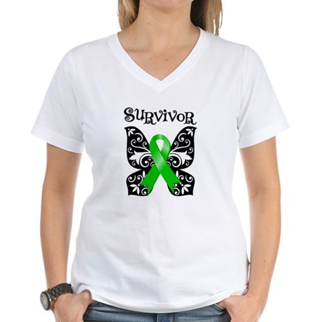 Butterfly Lymphoma Survivor Women's V-Neck T-Shirt