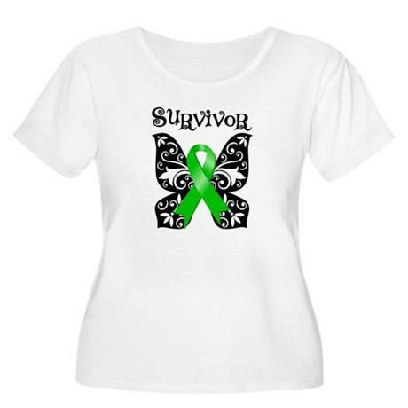 Butterfly Lymphoma Survivor Women's Plus Size Scoo