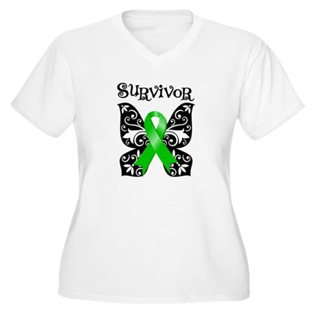 Butterfly Lymphoma Survivor Women's Plus Size V-Ne