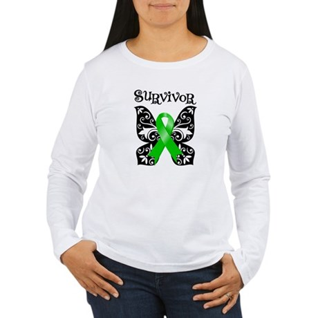 Butterfly Lymphoma Survivor Women's Long Sleeve T-