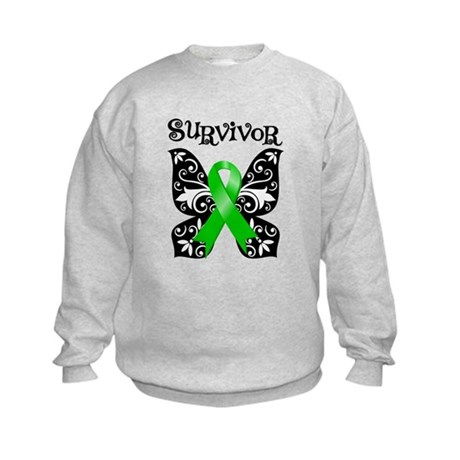 Butterfly Lymphoma Survivor Kids Sweatshirt