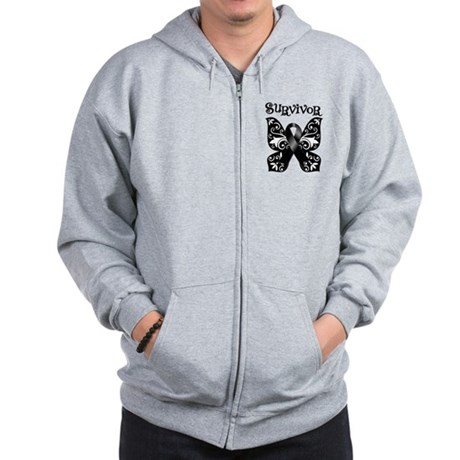 Butterfly Melanoma Survivor Zip Hoodie