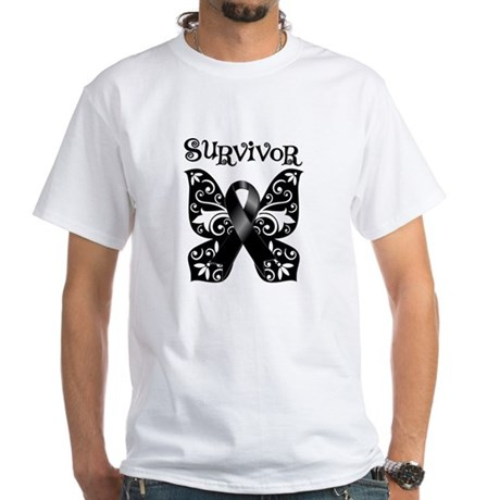 Butterfly Melanoma Survivor White T-Shirt
