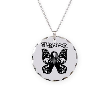 Butterfly Melanoma Survivor Necklace Circle Charm