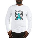 Butterfly Ovarian Cancer Long Sleeve T-Shirt