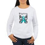 Butterfly Ovarian Cancer Women's Long Sleeve T-Shi