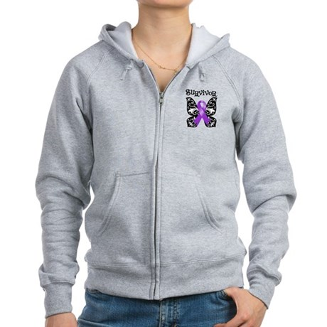 Butterfly Pancreatic Cancer Women's Zip Hoodie