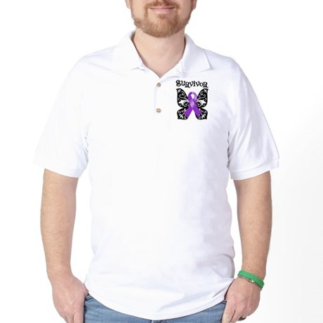 Butterfly Pancreatic Cancer Golf Shirt