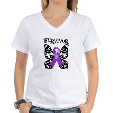 Butterfly Pancreatic Cancer Women's V-Neck T-Shirt