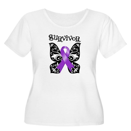 Butterfly Pancreatic Cancer Women's Plus Size Scoo