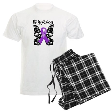 Butterfly Pancreatic Cancer Men's Light Pajamas