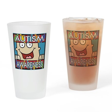 Funny Autism Awareness Pint Glass