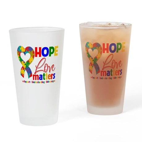 Hope Love Matters Autism Pint Glass