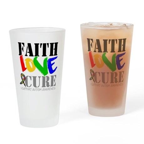 Faith Love Cure Autism Pint Glass