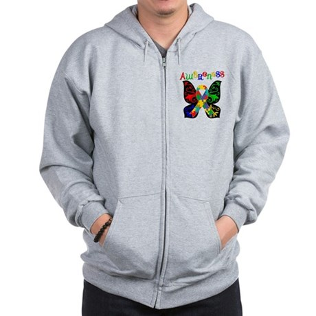 Butterfly Autism Awareness Zip Hoodie