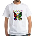 Butterfly Autism Awareness White T-Shirt