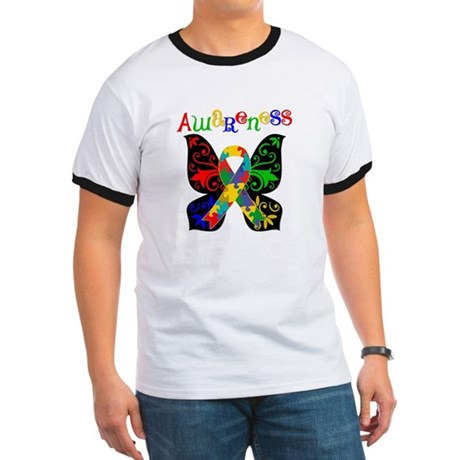Butterfly Autism Awareness Ringer T