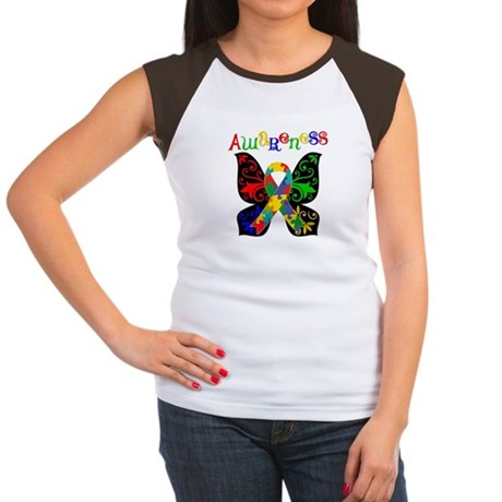 Butterfly Autism Awareness Women's Cap Sleeve T-Sh