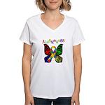 Butterfly Autism Awareness Women's V-Neck T-Shirt