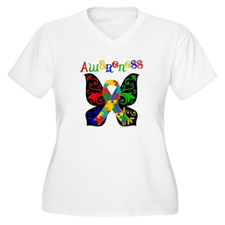 Butterfly Autism Awareness Women's Plus Size V-Nec