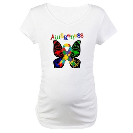 Butterfly Autism Awareness Maternity T-Shirt