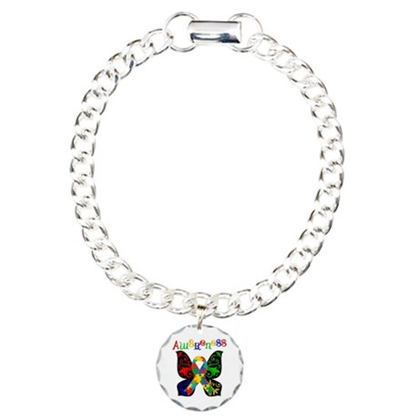 Butterfly Autism Awareness Charm Bracelet, One Cha