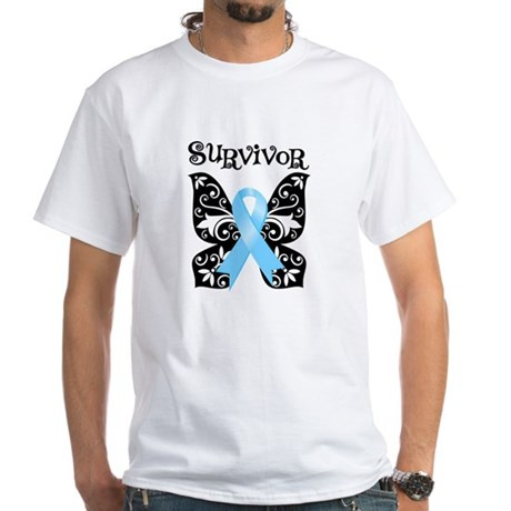 Butterfly Prostate Cancer White T-Shirt
