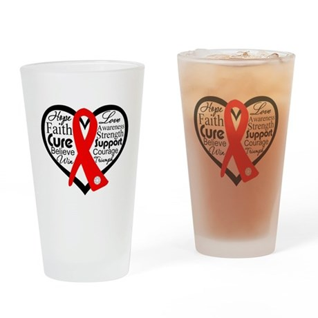 Blood Cancer Heart Pint Glass