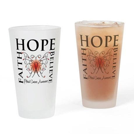 Blood Cancer Faith Hope Pint Glass