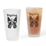 Brain Cancer Butterfly Pint Glass