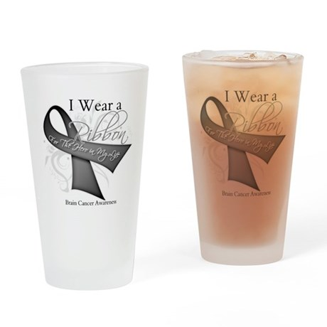Brain Cancer Hero Ribbon Pint Glass