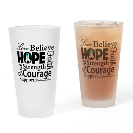 Cervical Cancer Hope Collage Pint Glass