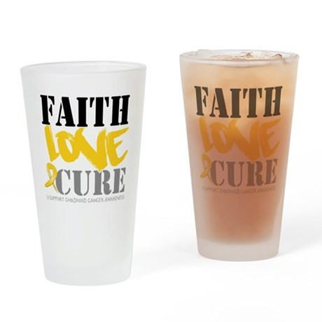 Faith Childhood Cancer Pint Glass